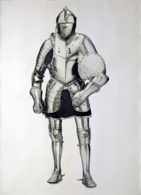 Karl Haendel, Knight #3, 2010, pencil on paper, 103 x 74 in. (261.6 x 187.9 cm) (artwork © Karl Haendel)