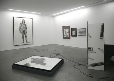 Karl Haendel, Knight #2, 2010, pencil on paper, 103 x 74 in. (261.6 x 187.9 cm), incorporated into an installation of the artist's work, Yvon Lambert Gallery, Paris, 2011(artwork © Karl Haendel)