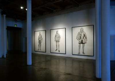 Karl Haendel, installation of Knight drawings at the Contemporary Arts Center New Orleans as part of Prospect.2, 2011–12. Left to right: Knight #6, Knight #4, and Knight #5 (all 2011)  (artwork © Karl Haendel)