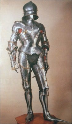 An example of 16th-century Maximillian armor. Source: https://rachelrussell.wordpress.com/2012/04/30/medieval-monday-maximilian-armor/, as of April 1, 2016