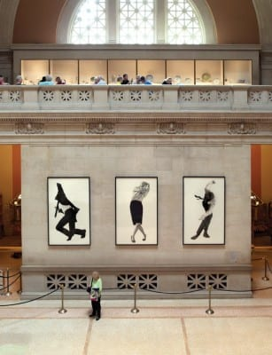 Robert Longo, Men in the Cities (Triptych), installation view of The Pictures Generation, 1974–1984, Great Hall, The Metropolitan Museum of Art, New York, 2009 (artwork © Robert Longo;  photograph by Eileen Travell)