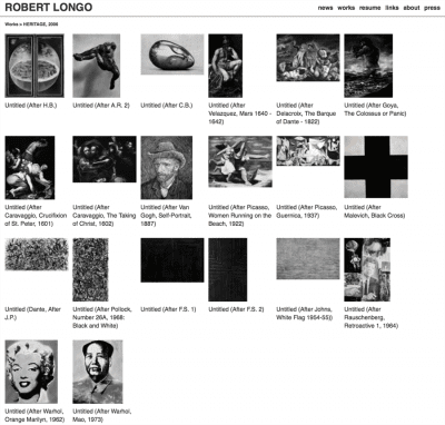Robert Longo, Heritage series, 2006, screenshot of artist's website, http://www.robertlongo.com/portfolios/1017, as of October 22, 2015