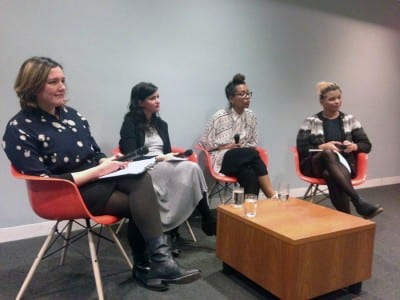 Left to right: Museum of Modern Art Director of Digital Content and Strategy, Fiona Romeo, with writer Orit Gat, New York Times technology columnist Jenna Wortham, and artist and activist Reina Gossett during the Art+Feminism Wikipedia Edit-a-thon opening conversation on contemporary feminisms and digital culture, held at the Museum of Modern Art, New York, on March 5, 2016.  (photograph © Chelsea Spengemann)