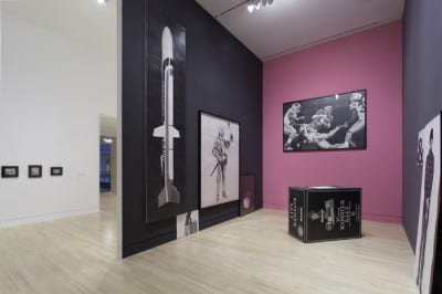 Graphite, installation view of Karl Haendel's installation of drawings (at right),  Indianapolis Museum of Art, Indianapolis, Indiana, December 7, 2012–June 2, 2013 (artwork © Karl Haendel; photograph provided by Indianapolis Museum of Art)