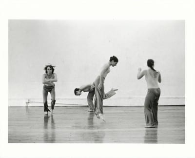 "Babette Mangolte, Trisha Brown ""Locus,"" 1975 (photograph © 1975 Babette Mangolte, all rights of reproduction reserved) From left: Trisha Brown, Judith Ragir, Mona Sulzman, and Elizabeth Garren"