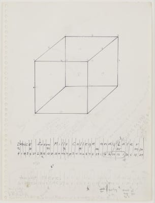 Trisha Brown, Untitled (Locus), 1975, ink and graphite on paper, 8 pages, 5 pages 12 x 9 in. (30.6 x 22.9 cm), 3 pages 17 x 14⅛ in. (43.2 x 35.9 cm) (artwork © Trisha Brown; photographs provided by Sikkema Jenkins & Co., New York)