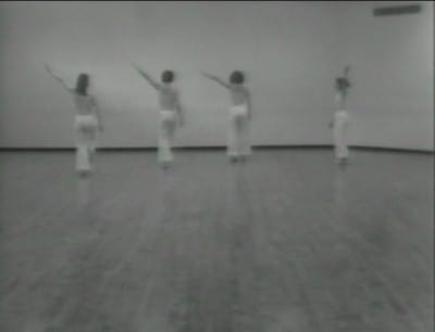 Unknown videographer, still from Locus, 1975, video, shot at Mills College, 1977, sound, 14 min. 12 sec., from 2-DVD set Trisha Brown Early Works 1966–1979 (New York: ArtPix, 2005)