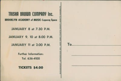 Postcard for Trisha Brown Company at Brooklyn Academy of Music—Lepercq Space, 1976, b/w offset printing on card, front and back, 6 x 4 in. (15.2 x 10.2 cm) (photograph © Babette Mangolte; images provided by Mona Sulzman)