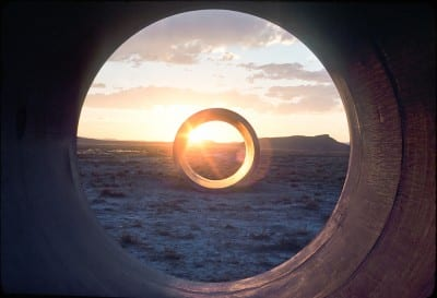 Nancy Holt, sunlight in Sun Tunnels, 1976, still from Troublemakers (photograph by Nancy Holt © Holt-Smithson Foundation/Licensed by VAGA, New York, provided by Summitridge Pictures and RSJC LLC)