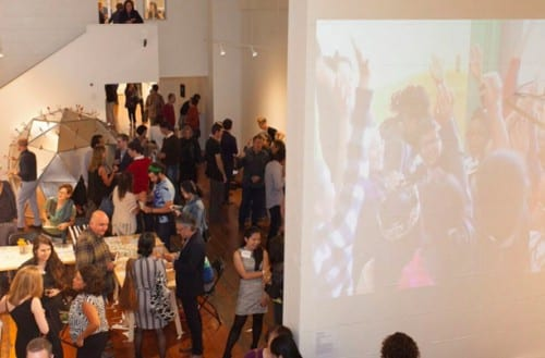 The opening reception of RESONATE, Root Division, September 2015. This was Root Division's inaugural exhibition after the organization's 2015 relocation (photograph © Root Division)