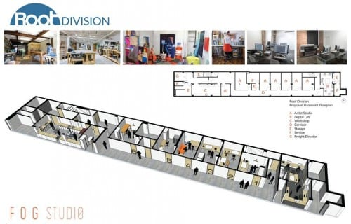 The proposed floor plan for Root Division's lower level. The studios and woodshop opened on August 1, 2016.  (image provided by Root Division)