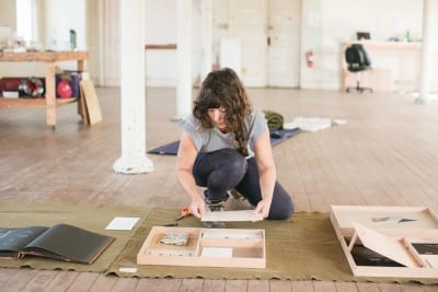Patricia Fernández Carcedo working in her studio during her fall 2015 residency at Headlands Center for the Arts, Sausalito, California (artwork © Patricia Fernández Carcedo; photograph by Andria Lo, provided by Headlands Center for the Arts)