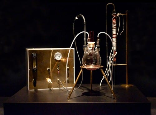 Adam Brown, The Great Work of the Metal Lover, 2012, glass alchemical bioreactor, gas manifold and gas tank filled with hydrogen and carbon dioxide, made in collaboration with Kazem Kashefi (artwork © Adam Brown; photograph provided by Beall Center for Art + Technology, University of California, Irvine). View of the alchemical installation.