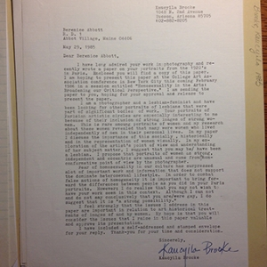 Letter to Berenice Abbott from Kaucyila Brooke