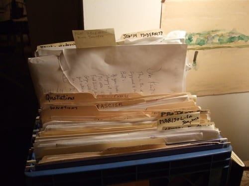 Dore Ashton's files, ca. 2011 (photograph © Madeline Djerejian)