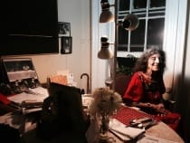 Dore Ashton at the kitchen table in her home on East Eleventh Street, New York, New York, 2011 (photograph © Madeline Djerejian)