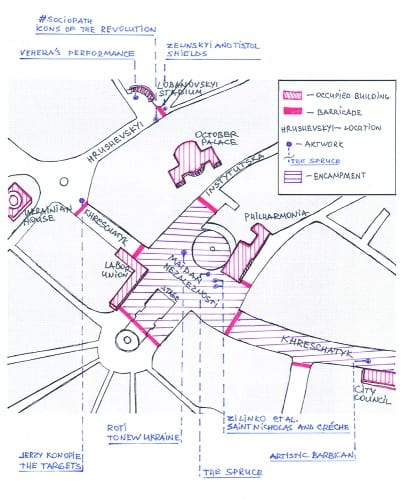 Plan of the artworks in the Maidan's space, Kyiv, December 2013–February 2014 (plan by the author)