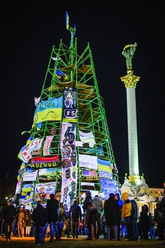 The Spruce, 2013–14, metal structure, cloth, approx. 114 ft. high x 41 ft. diam. (35 x 12.5 m), installation view, Independence Square, Kyiv (photograph © Oleksandr Ratushnyak)