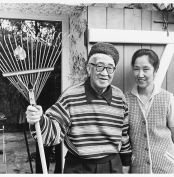 <strong>Foujita and Kimiyo at Villier-le-Bacle, mid-to-late 1960s,</strong> black-and-white photograph (photographer unknown)