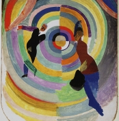 <strong>Robert Delaunay, <em>Political Drama</em>, 1914,</strong> oil and collage on cardboard, 34⅞ x 26½ in. (88.7 x 67.3 cm) (framed, 40¾ x 32⅞ in., 103.5 x 83.5 cm). National Gallery of Art, Washington, DC, gift of the Joseph H. Hazen Foundation (artwork in the public domain; photograph provided by the author)