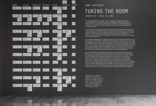 Wall didactic and calendar of events for Anna Craycroft's Tuning the Room, 2017 (photograph provided by Ben Maltz Gallery at Otis College of Art and Design)