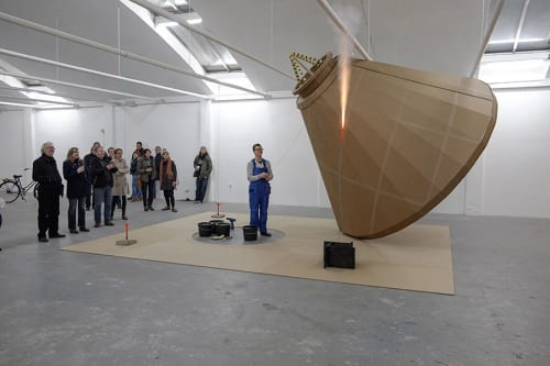 Chad Stayrook, performance still of Testing Site #3, #2, #1, 2015, installation and performance, 20 x16 x12 ft. (6 x 4.8 x 3.6 m) (artwork © Chad Stayrook; photograph courtesy of Koen Djikman)