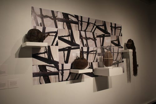 Unidentified artists, installation view of four Rendille, Turkana, or Borana (Kenya) nomadic vessels, ca. 1950s–1970s, in