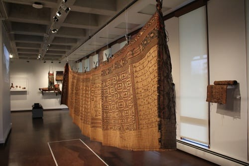 Unidentified artist(s), Tuareg (Mali, Niger), tent wall, front and back, ca. 1970s, reed, leather, and wool, installation view, Made to Move: African Nomadic Design, Handwerker Gallery, 2017. Collection of Herbert F. Johnson Museum of Art (photograph by Risham Majeed) The screen is slightly porous to let in the breeze but to keep out sand.