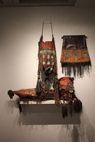 Unidentified artists, Tuareg (Mali, Niger), three leather bags, ca. 1970s, goat skins, plastic wire, and pigment, installation view, Made to Move: African Nomadic Design, Handwerker Gallery, 2017. Collection of Herbert F. Johnson Museum of Art (photograph by Risham Majeed)