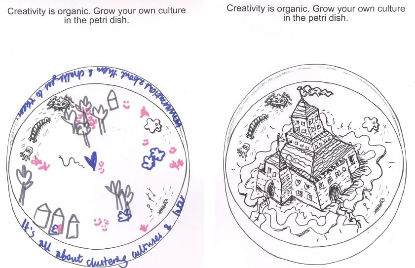 "The postcard prompt is ""Creativity is organic. Grow your own culture in the petri dish."" The image is two petri dishes. The first is populated with sketches of trees and houses, with the following text written around the edge: ""It's all about clustering cultures and later conversations about them and challenges to them."" The second has a line drawing of a castle on an island."