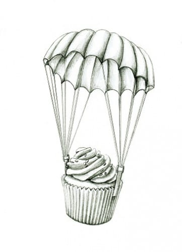 Line drawing of a cupcake suspended in the air by a parachute