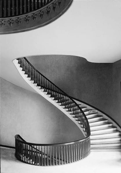 View of a cantilevered staircase inside the Capitol building
