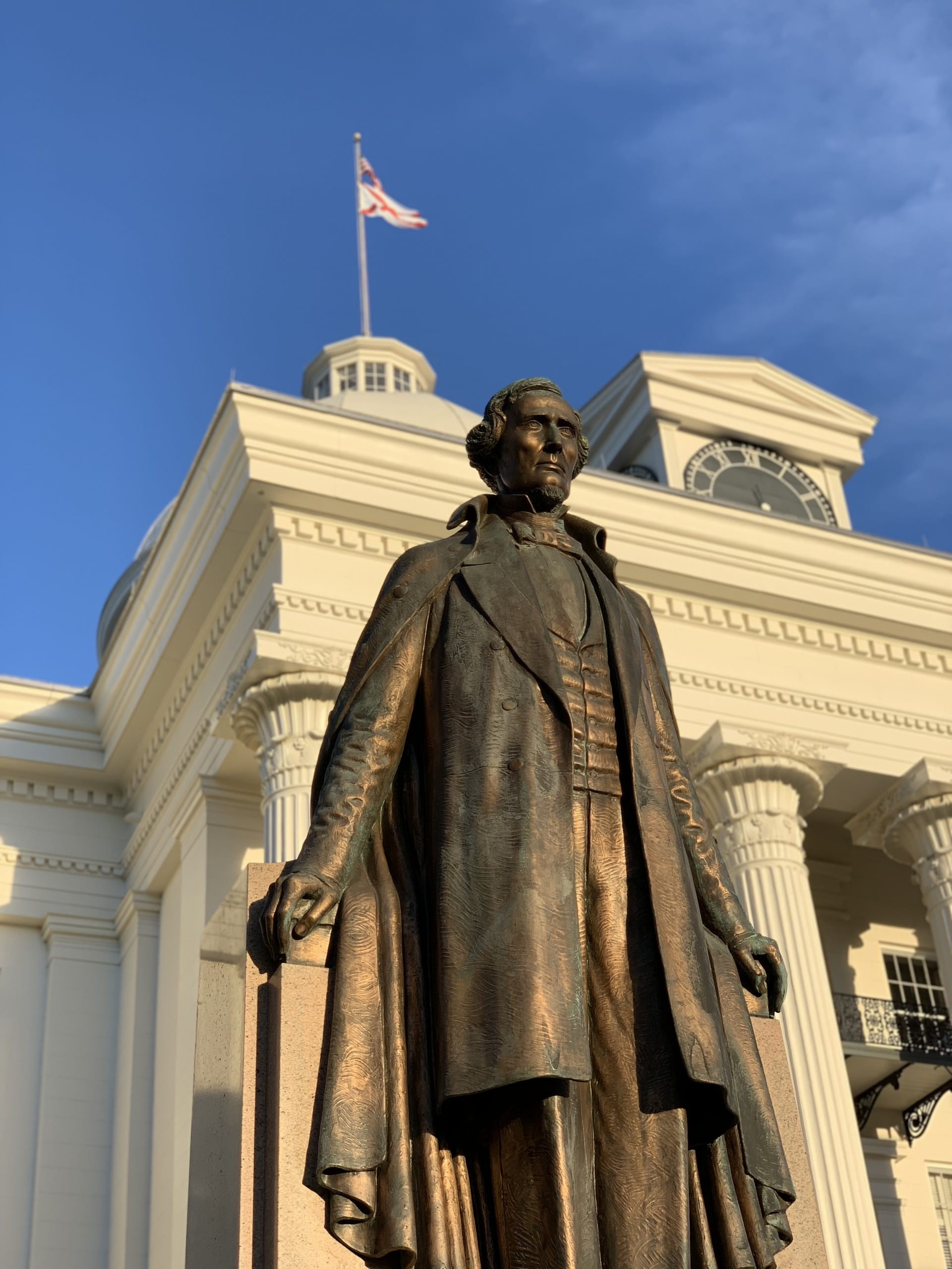 over life size bronze sculpture of Jefferson Davis with arms outstretched