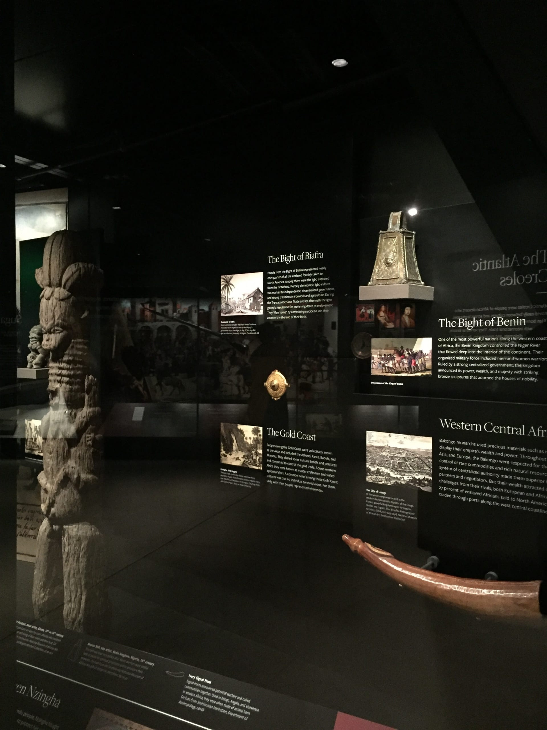 "National Museum for African American History and Culture, Smithsonian Institution, Washington D.C., 2019. ""Trading to Traded"" in the History galleries. An ivory oliphant (trumpet) in the foreground"