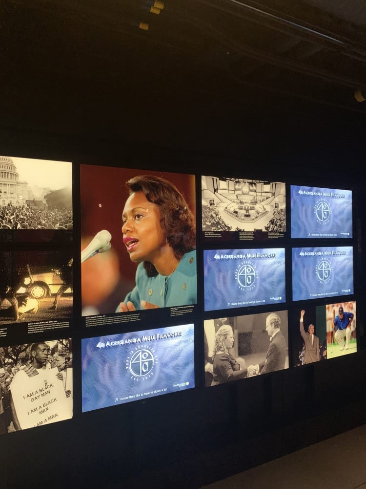 color stills of news footage from the 1980s highlighting Anita Hill