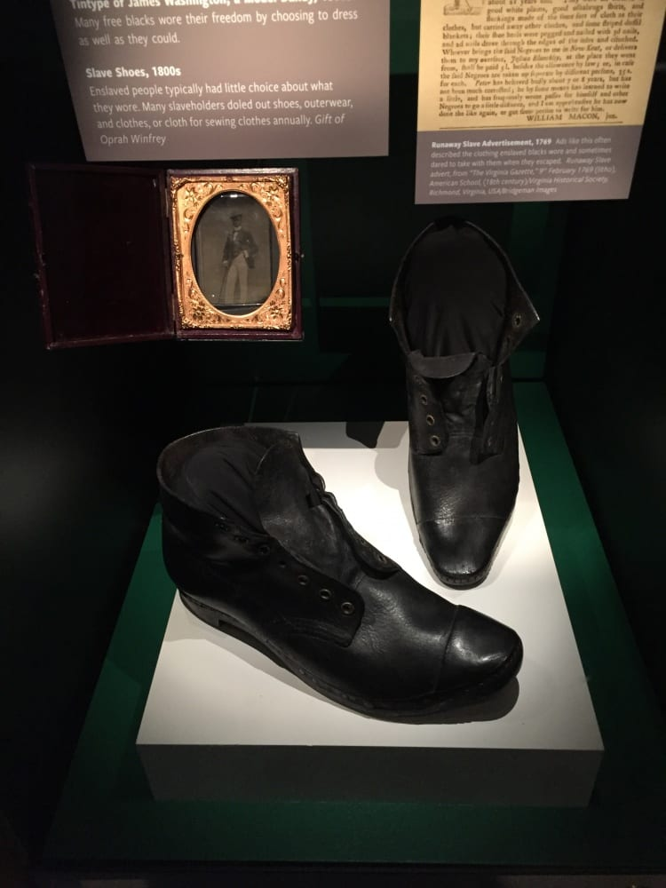 Pair of slave shoes juxtaposed with a tintype of James Washington