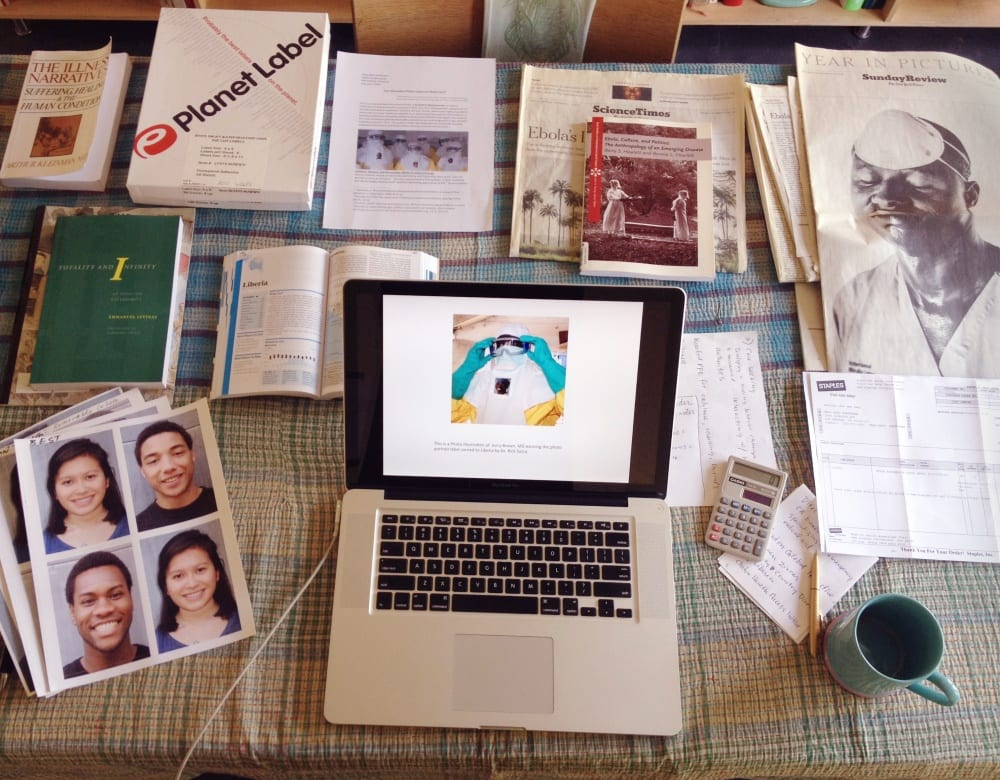 Heffernan's kitchen table with PPE Portrait Project proposal, sample portrait labels, project budget, research materials, and press files, February 2015