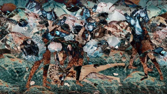 A 3-minute, full-color digital animation that collages a series of images produced by the artist to represent wartime conflict