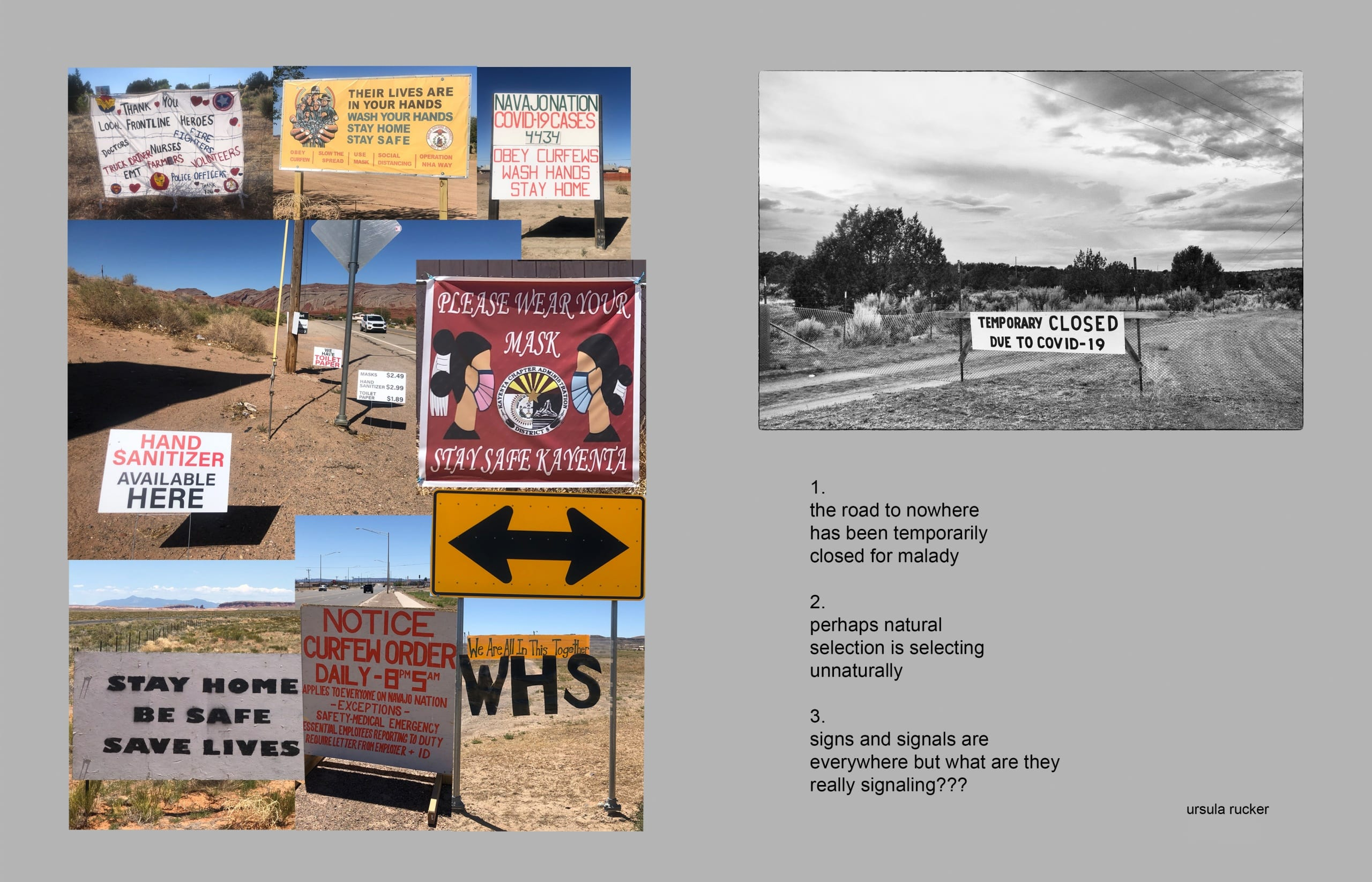 """To the left, a photo-collage showing handmade road signs promoting COVID-19 awareness; to the right, photo of a rural, closed road. The sky looms large and a hand-painted sign reads """"Temporarily Closed due to COVID-19""""; a poem is printed below the photograph"""