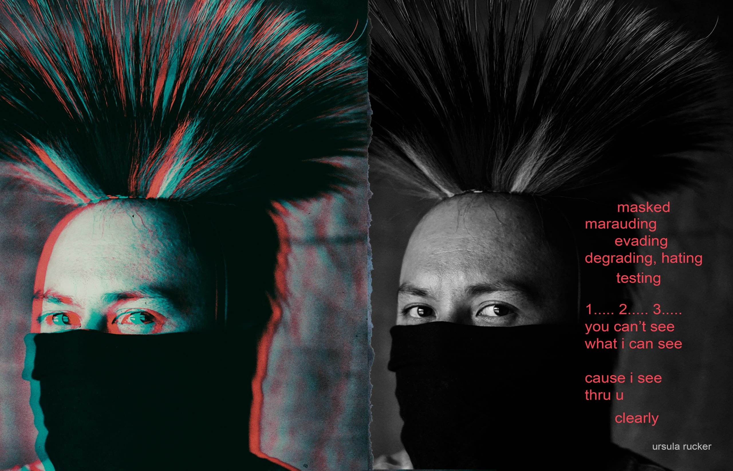 """Doubled image of a young Indigenous man wearing a grass dancer's roach and a black cloth mask pulled up to just below his eyes; image on left is color separated, so it appears as """"3-D;"""" a poem appears in red text on the right side of the spread"""