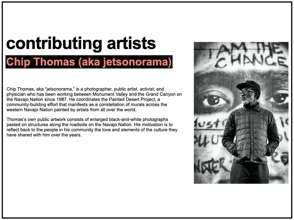 Biography text for Chip Thomas (aka jetsonorama), accompanied by a black and white portrait photograph of the artist