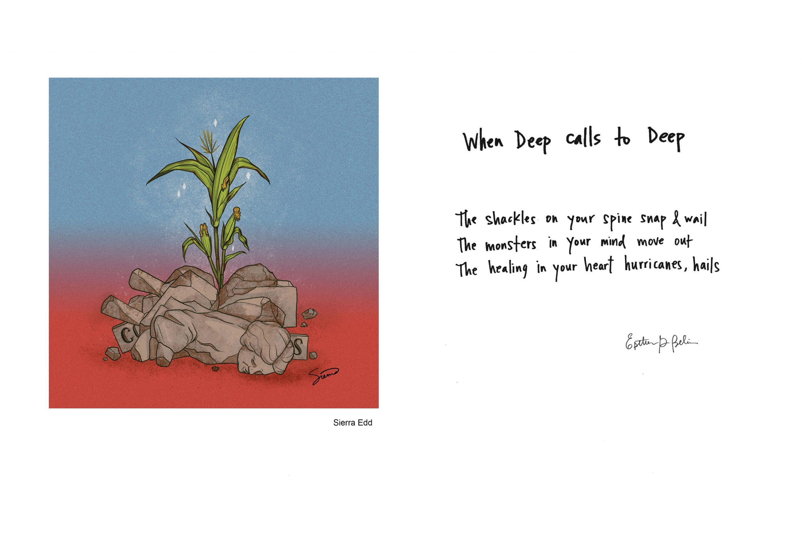To the left is a color drawing of a stalk of corn growing from a pile of rocks; to the right is a handwritten poem