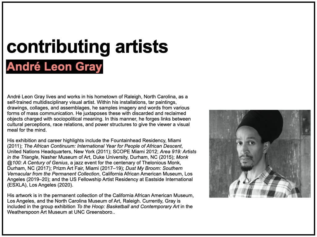Biography text for André Leon Gray, accompanied by a black and white portrait photograph of the artist