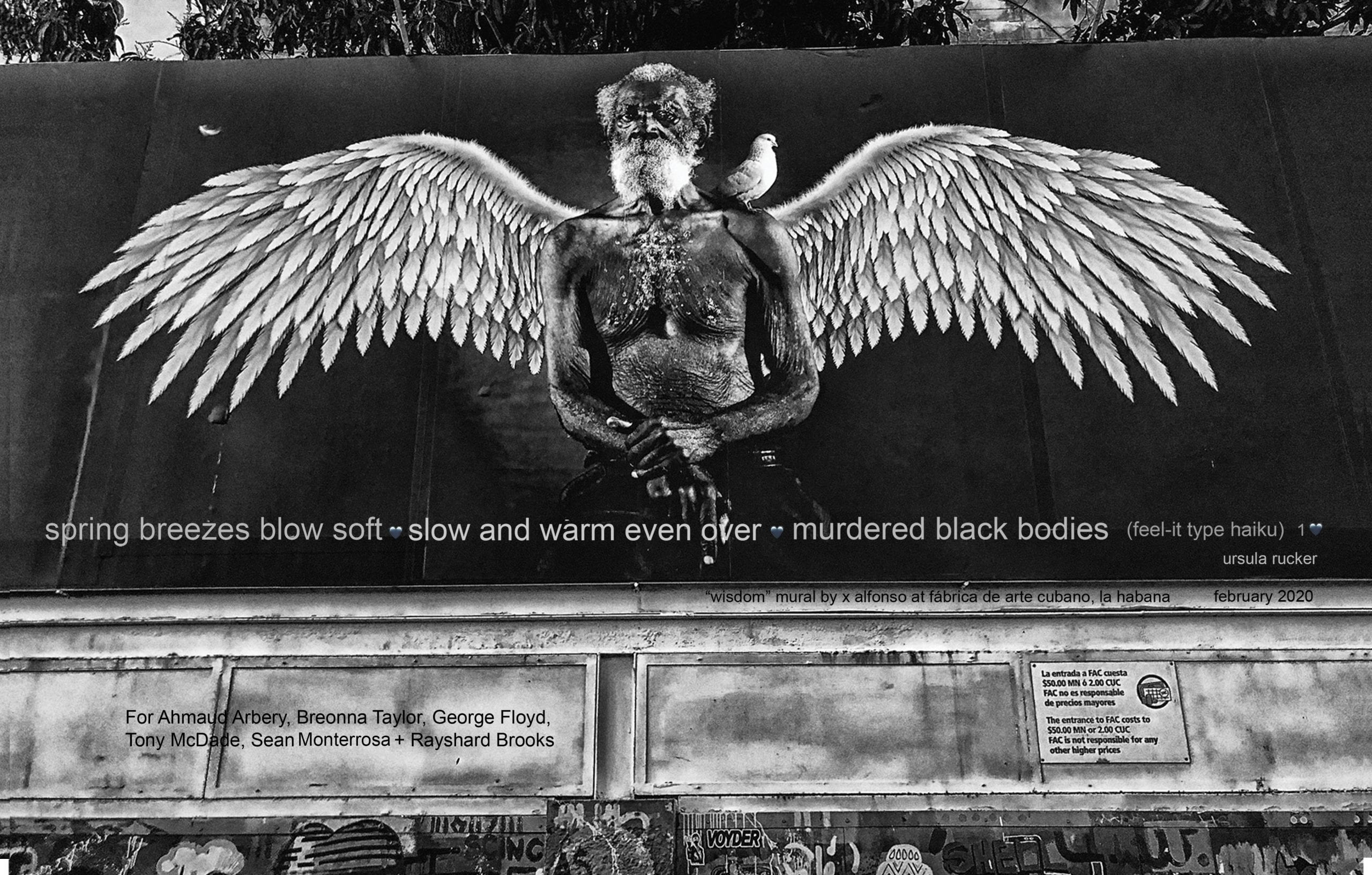 Black-and-white photo of a large mural of an elderly Black man, facing the viewer and winged like an angel. A dove sits on the man's left shoulder. A poem is superimposed over the bottom third of the image