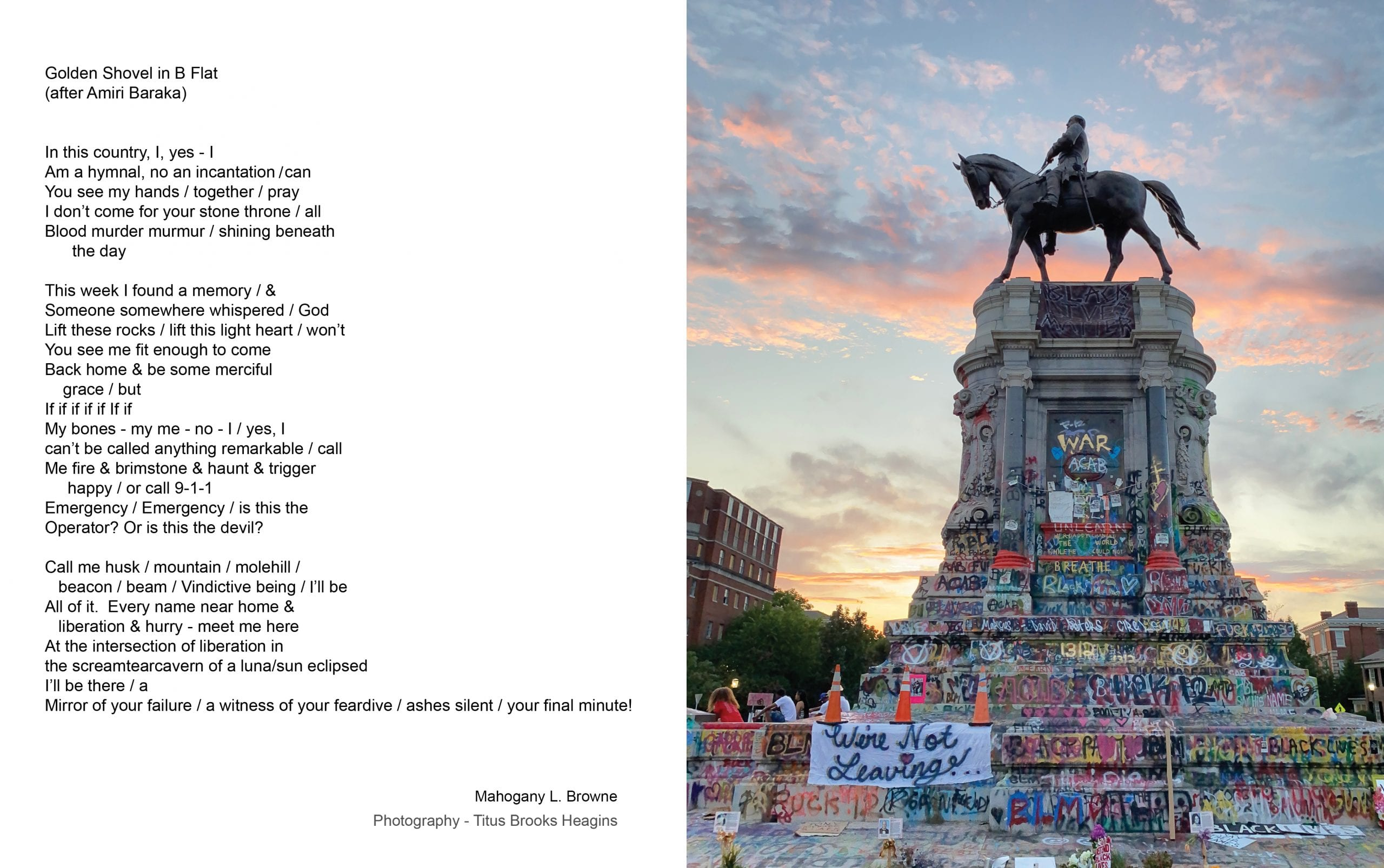 A poem appears on the left; on the right, color photograph of a Confederate monument at dusk. The monument has been painted over with colorful graffiti in protest against its presence and in favor of the Black Lives Matter movement