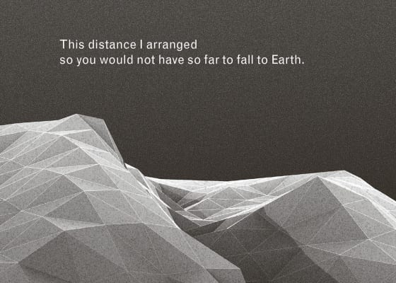 "Detail of a book spread from Imaginary Explosions, page 35. Above black-and-white graphic of mountain topography, text reads, ""This distance I arranged so you would not have so far to fall to Earth."""