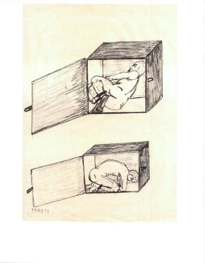 A line drawing depicting two scenes of Abu Zubaydah shackled, writhing, and crouched inside a confinement box with the door open.