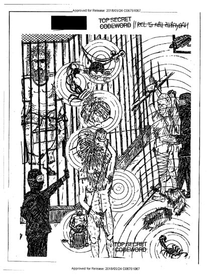 A photocopy of a line drawing with evidence release information coded at the top. The drawing figures Abu Zubaydah experiencing three conditions of torture by effaced military officials silhouetted in black, in a chaotic prison environment, surrounded by cage bars, a scorpion, and a surveillance camera in the top right corner.