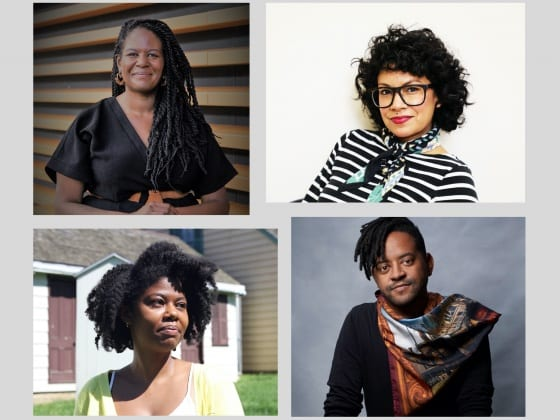 Color photographs of the four roundtable participants. At top left, Damon Reaves; at top right, Gabriela Martinez; at bottom left, Dalila Scruggs; at bottom right, Key Jo Lee.