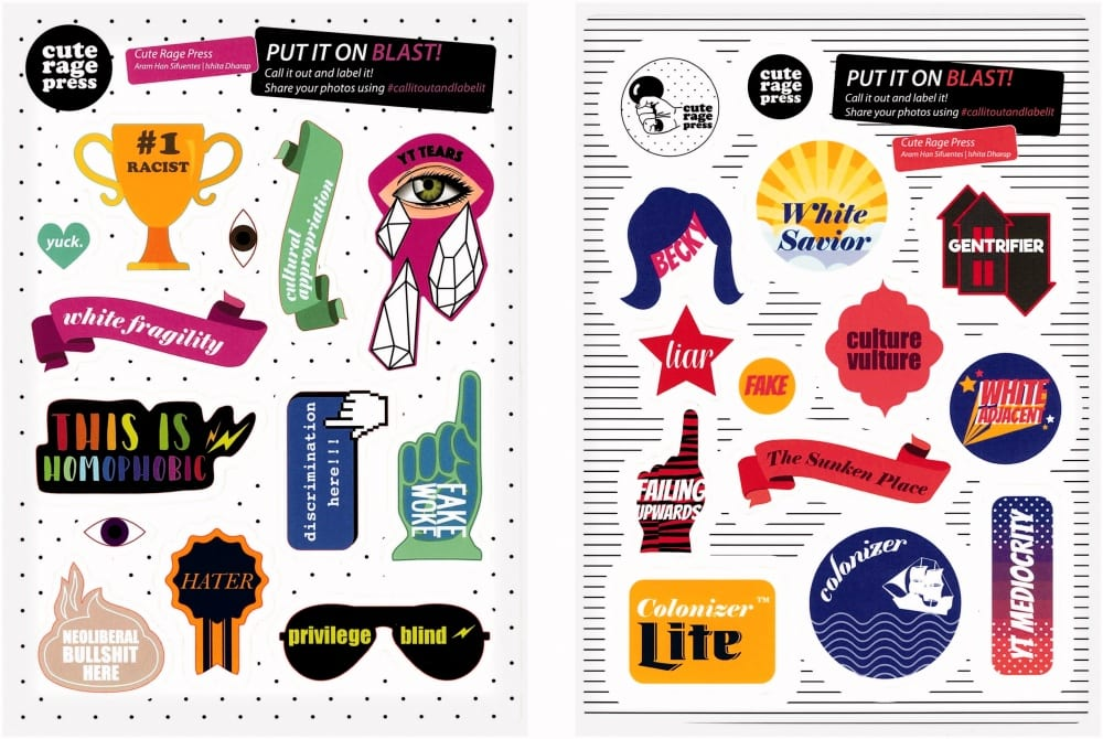 """A sticker sheet featuring various images to be posted around one's institution, including the following: A trophy that reads """"#1 Racist,"""" a banner that reads """"White Fragility,"""" sunglasses that read """"Privilege Blind,"""" and other graphics saying """"Yuck,"""" """"This Is Homophobic,"""" """"Discrimination Here!!,"""" """"Fake Woke,"""" """"Hater,"""" """"Neoliberal Bullshit Here,"""" """"Cultural Appropriation,"""" """"YT Tears,"""" """"White Savior,"""" """"Gentrifier,"""" """"Becky,"""" """"Fake,"""" """"White Adjacent,"""" """"The Sunken Place,"""" """"Failing Upwards,"""" """"Colonizer,"""" """"Colonizer Lite,"""" """"YT Mediocrity."""""""